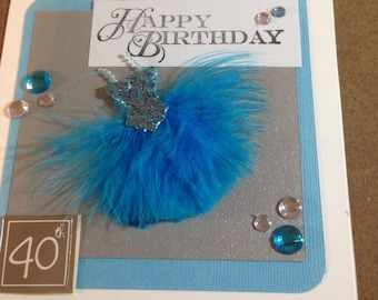 Stunning Sequin/Feather Dress Birthday Card