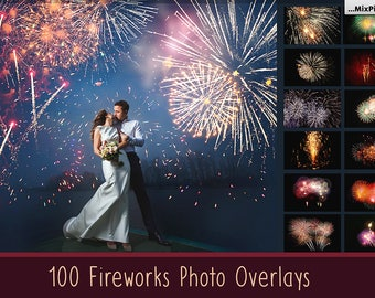 Realistic Fireworks Overlays Photoshop Wedding Sky Show Invitation Background