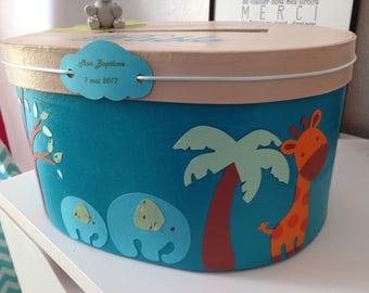 Beautiful urn baptism personalized jungle theme
