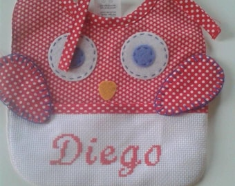 """Set bib and health booklet protection cover personalized """"OWL"""""""