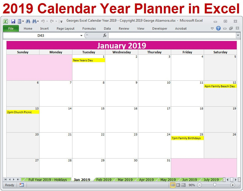 Yearly Planner Template 2017 2017 Printable Calendar Word