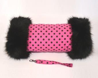 Pink & Black Polka Dot Hand Muff with Black Faux Fur Trim