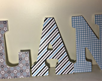 boys wood letters for baby nursery, hanging letters, wall letters, navy and blue letters, plaid, stars, dorm room letters,
