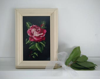 beautiful needlepoint red rose
