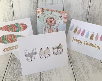 Boho themed greeting cards - 4 different designs