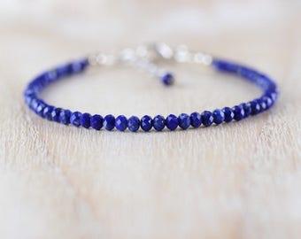 Lapis Lazuli & Sterling Silver Bracelet. Blue Gemstone Bracelet. Dainty Beaded Stacking Bracelet. Delicate Semi Precious Jewellery. Jewelry