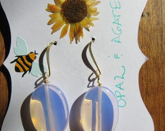 Hand Made Pink Opal and Black Agate Dangle Earrings Gold Plate Wires