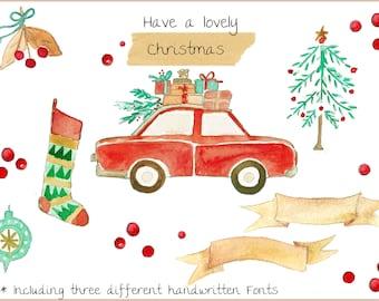 Holiday Season Christmas Watercolor clipart  DIY menu cards Gift tags