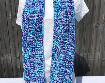 Crochet Scarf Blue Purple White