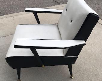 Mid-Century Modern White & Black Chair