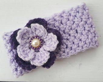 Crochet Baby Headband with Brooch Detail/Baby Headwear/Baby Accessory/Photo Prop/Purple Headband/Crochet Headband/Flower Girl