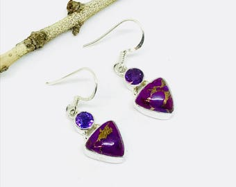 Mojave purple Copper turquoise, amethyst earrings set in sterling silver 925. Perfectly matched stones. Length- 1 inch