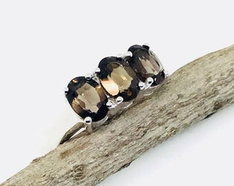 Smokey Topaz ring set in sterling silver 925. size 5. Natural authentic stone.