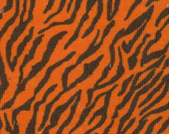 Orange tiger printed corduroy fabric by the yard, Fabric finders tiger print 58 inch wide mini 21 wale corduroy fabric, orange black tiger