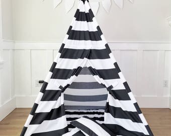 Kids Play Tent Handmade in Black and White Stripe Designer Cotton Fabric. Comes With Padded Mat Base AND Two Pillows!