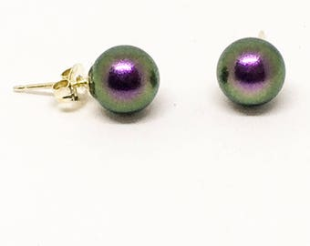 Swarovski 8mm pearl earrings,  sterling silver stud earrings, everyday earrings, iridescent purple studs, pearlised earrings