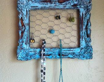 Shabby Chic Up-Cycled Turquoise Jewelry Display