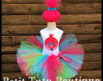 Pink Poppy Troll Birthday Tutu Set size available 12m to 10/12y