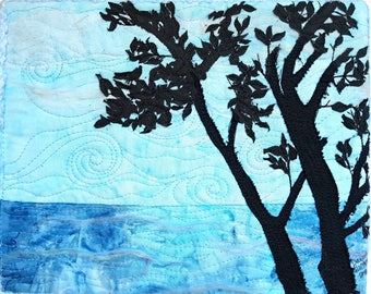 Beauty in Blue Fiber Art / Ocean Artwork / Custom Fiber Art / Landscape Art Quilt / Thoughtful Gifts / Landscape Art / Textile Wall Hanging
