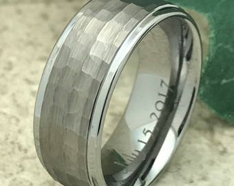 8mm Tungsten Wedding Ring, Personalize Custom Engrave Tungsten Carbide Ring, Brushed Finish Hammered Ring, Father's Day Gift-TCR105