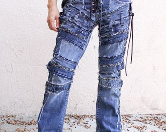 Vintage Blue denim with extra  zippers in front and side lace up