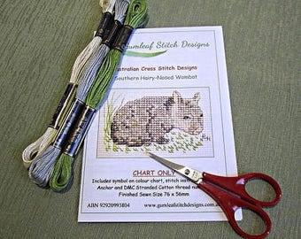 Australian fauna cross stitch chart - Wombat.  PDF instant download