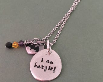Hand Stamped Batgirl necklace