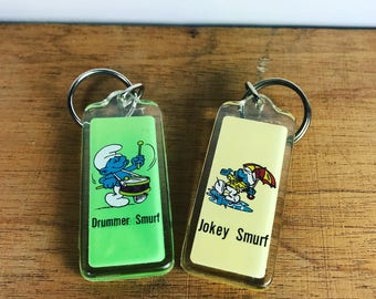 Vintage smurf keyrings -set of 2