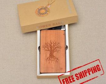 QI Wireless Charger and Power Bank Customized Engraved design TREE oF KNOWLEDGE on Cherry Wood