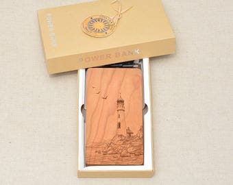 QI Wireless Charger and Power Bank Customized Engraved design LIGHTHOUSE on Cherry Wood