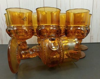 "Set of 8 Color Crown Amber 5-3/4"" Water Goblets by Colony Glass (Also known as King's Crown Thumbprint)"