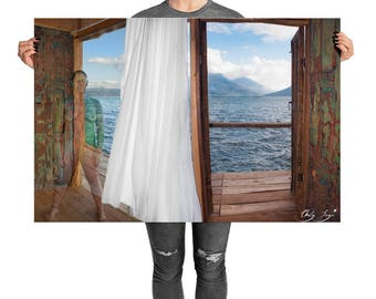 The Entrance - to worlds of possibility, printed poster Guatemala, blowing in the wind upon lake Atitlan, san pedro volcano