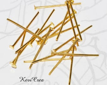 50 x flat 26mm gold tone head pins