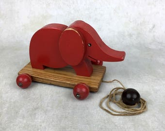 Vintage Red Elephant Pull-Toy, doll accessory, vintage toy, vintage wooden toy
