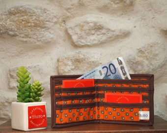 Fabric and faux leather orange, taupe and chocolate leaves