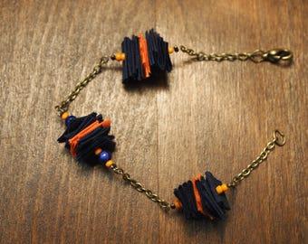 Navy and orange bracelet unique!