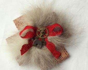 Handmade Vintage inspired Rabbit Fur, Lace, Buckles, Buttons, Hooks & clock parts Steampunk Rosette Brooch