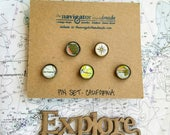 CUSTOM Map Pin Sets: Choose any Five Locations, Vintage Map Pins, Travel Memorabilia, Gift under 25