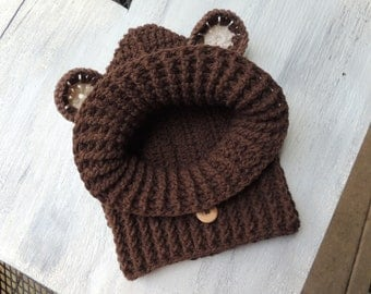 Crochet Bear Hood, Luv Beanies, Boy Bear Hood, Animal Hoods, Bear Hooded Cowl, Bear Hoods, Bear Hats, Bear Snood, Animal Snoods, Bear Cowl