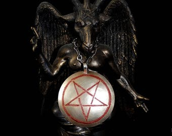 Inverted pentagram medallion, Satanic jewelry, Lucifer pendant