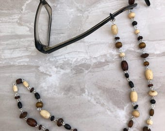 Wooden Bead Glasses Chain, Eyeglass chain, sunglasses holder, spectacles chain, beaded glasses cord, glasses necklace
