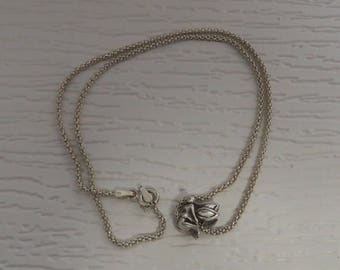 Girl's necklace chain with pendant, fairy, sterling silver vintage, 5.5 grams