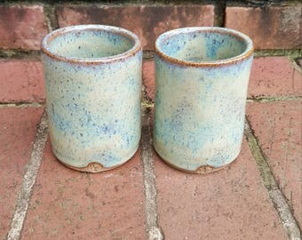 Set of (2) 8oz Pottery Tumblers Wheel Thrown Stoneware Handmade Cups