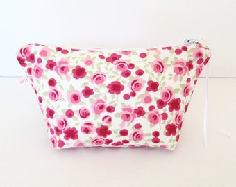 Make Up Bag, Cosmetic Bag, Purse, Sewing Pouch, Handbag Tidy, Hair Accessories Bag, Laptop Wires Bag, Jewellery Bag, Gift for Her, Rose Bag