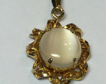 "Vintage 12k Yellow Gold Filled Moonstone Pendant on 18"" Fine Link Chain"