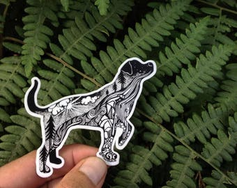 "Hiking Dog Sticker  3"" Weatherproof and durable, Outdoor sticker, Travel sticker, Wanderlust, Mountains, Moon , Trees, Lab"