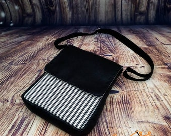 Black & White Ticking And Faux Leather Sophisticated Cross Body Satchel