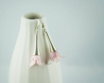 Origami paper, pink lily flowers earrings