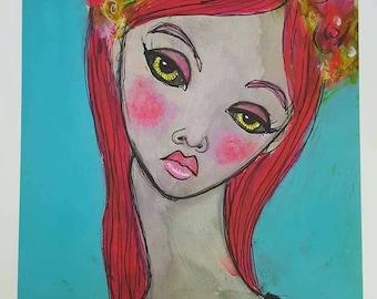 Print of a mixed media painting, Bettie. Wall art, flower crown, feminine art