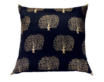 16 x 16 Black Silk Cushion Cover with Tree Gold Print